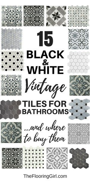 15 black and white stenciled and vintage tiles for a retro, vintage or farmhouse style