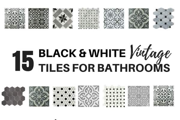 15 Vintage Black and white tiles for bathrooms
