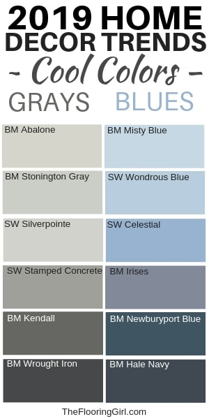 Home Decor trends for 2019 - Warm grays and cool blues