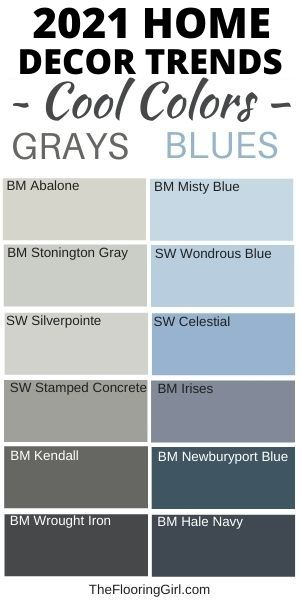 Home Decor trends for 2021 - Warm grays and cool blues