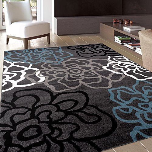 Contemporary Gray Area Rug With Fl Flowers Black And Light Blue