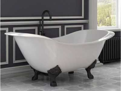 freestanding clawfoot tub - white with black feet