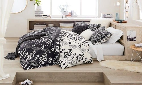 black and white bedroom for teenager with Alabaster painted walls