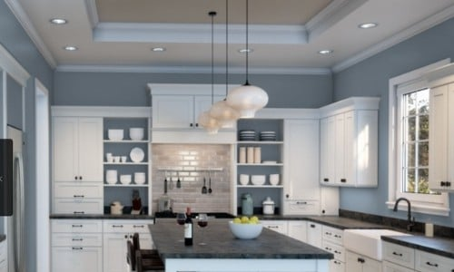 Sherwin Williams Aleutian blue gray in kitchen with white cabinets