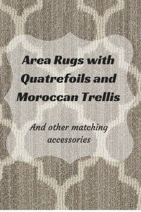 Area rugs with Moroccan Trellis or quatrefoils