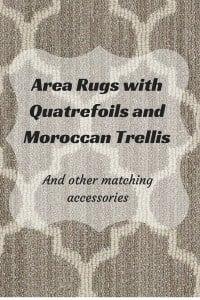 Area rugs with Moroccan Trellis or quatrefoils