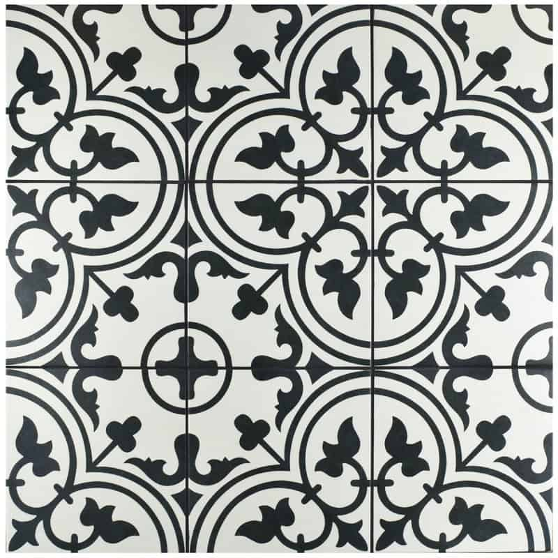 Artea Stenciled White And Black Farmhouse Tile Retro Style