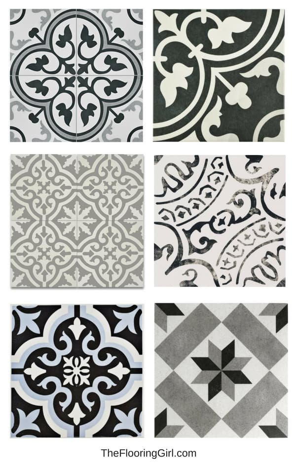 stenciled tiled floors - black white and gray - bathroom flooring trends
