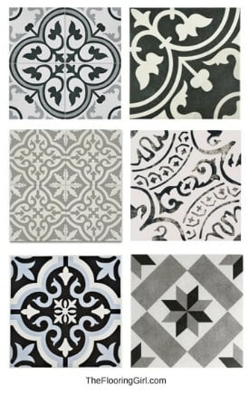 stenciled tiled floors - black white and gray - bathroom flooring trends