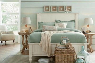 bedroom with shiplap painted with SW Rainwashed