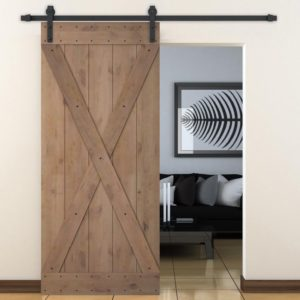 sliding barn house door for farmhouse style look - home decor weekend projects