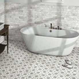 tile flooring trends for bathrooms - black and white stenciled tiles