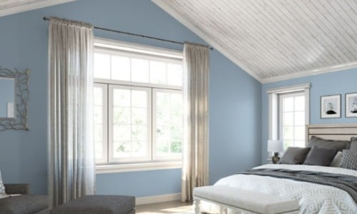 Blissful Blue from Sherwin Williams in bedroom for gray floors