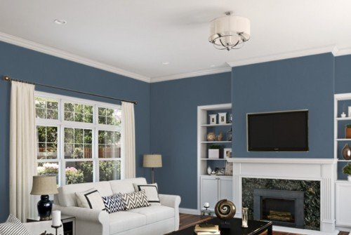Distance SW 6243 - blue painted lving room