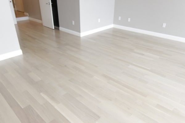 Scandinavian whitewashed hardwood floors using Bona Nordic Seal