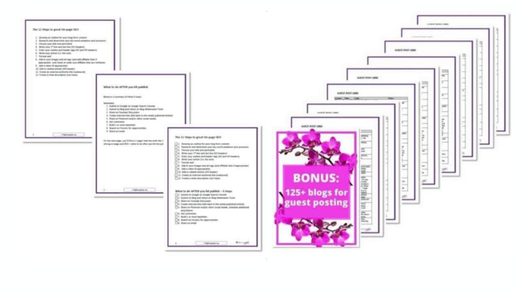Bundle Bonuses stack of printables in two separate frames