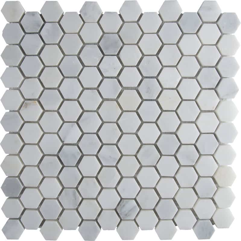 Vintage tile for bathrooms - carrara marble hexagons