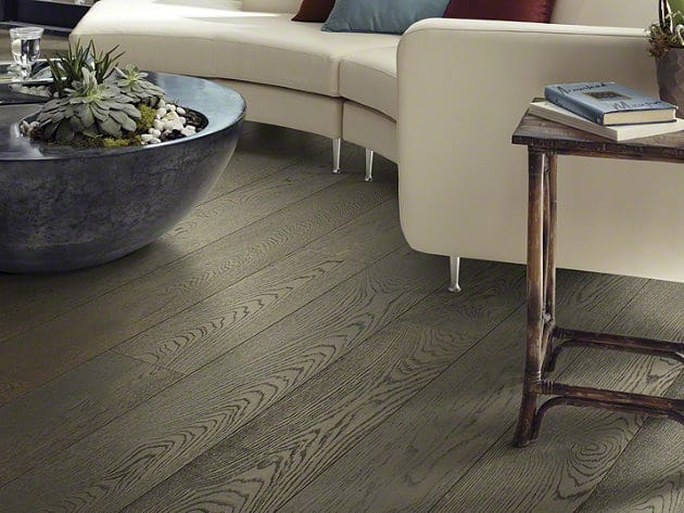 Wire brushed dark gray hardwood floors