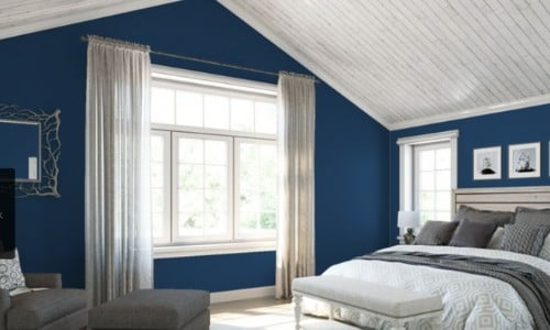 Sherwin Williams Commodore in master bedroom - Paint Colors Go Best with Gray Floors