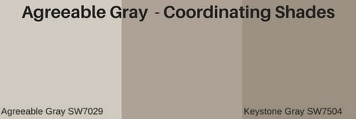 Coordinating shades of grey - Agreeable gray Sherwin Williams