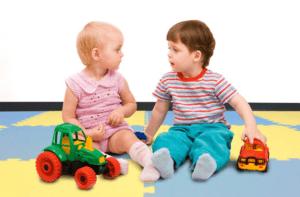 Designer soft rubber floor tiles for kids and babies