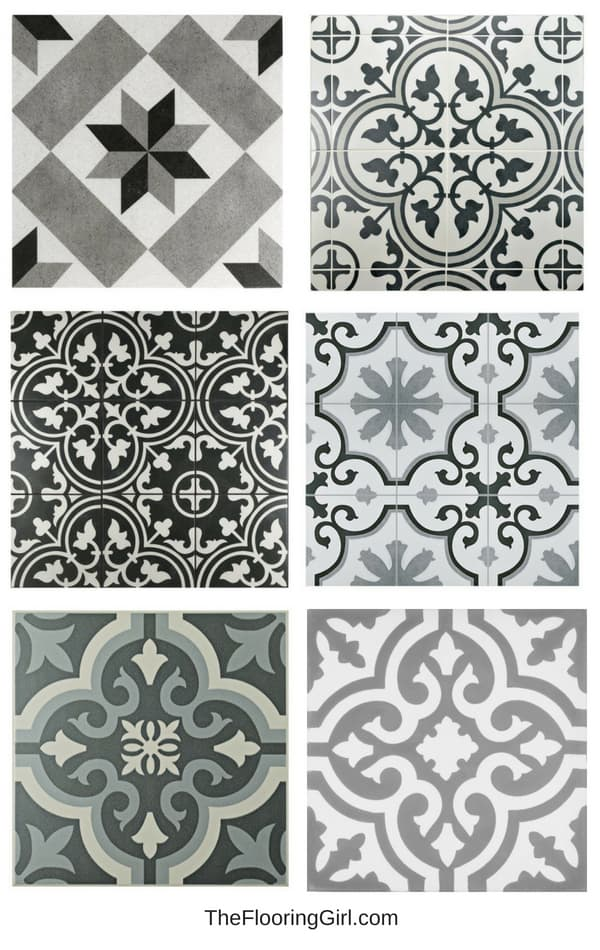 black and white stenciled tile for a farmhouse style