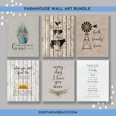 Farmhouse style wall art printables