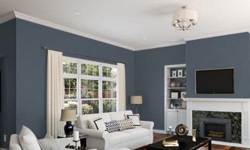 granite peak in livng room - dark gray blue shades