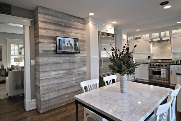 Gray shiplap accent wall in kitchen for modern style