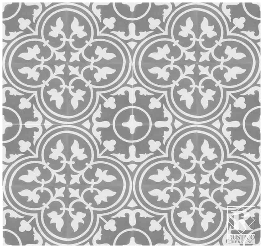 Farmhouse stenciled tiles for bathroom - gray and white - retro and nostalgic