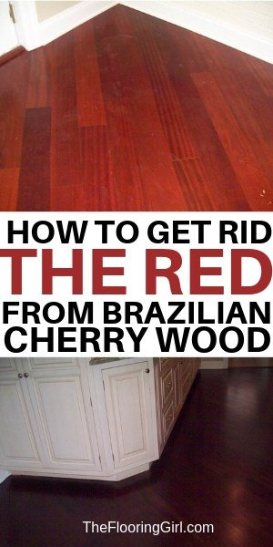 how to get rid of the red from brazilian cherry hardwood