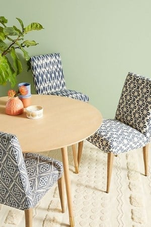 Ikat navy and blue accent chairs - mid century modern