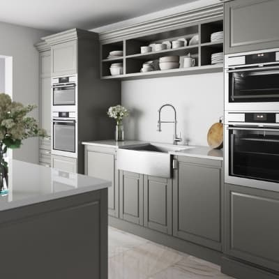 kitchen cabinets in repose grey from Sherwin Williams