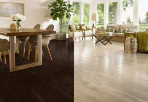 Light and dark hardwood