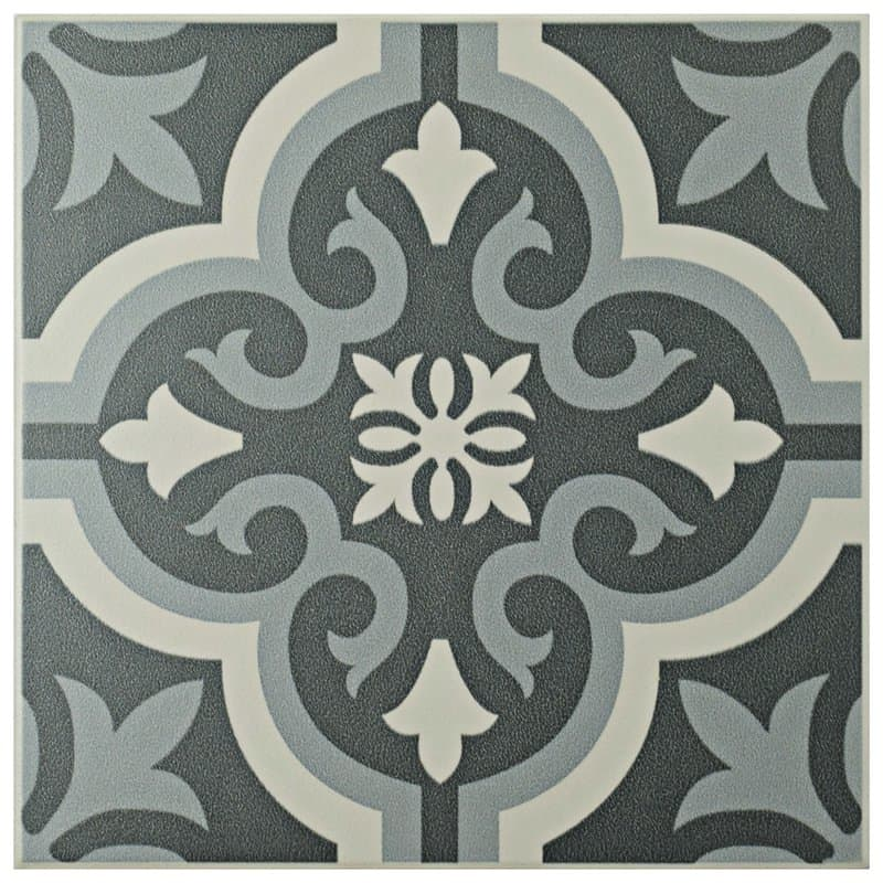 Vintage Black and white tiles - charcoal gray/white porcelain tiles