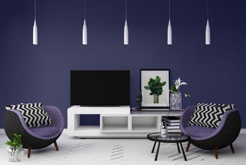 living room with majesticpurple Sherwin Williams