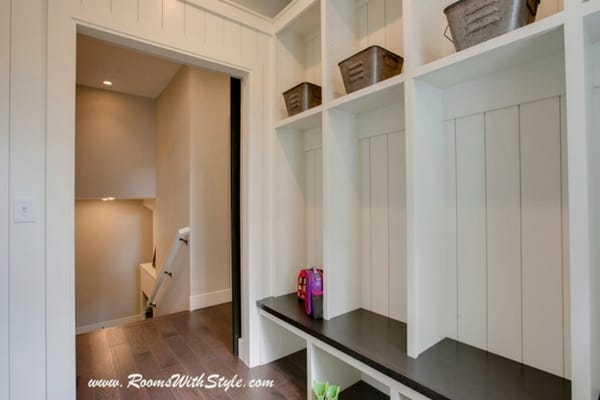 Shiplap paneling in mudroom for a fresh farmhouse look