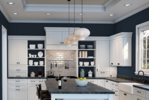 Open shelf kitchen - white cabinets and navy on walls - SW Naval