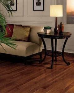 Oak hardwood with cherry stain - Armstrong Dundee cherry colored hardwood