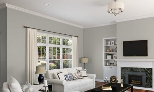 living room painted with Repose Gray SW 7015