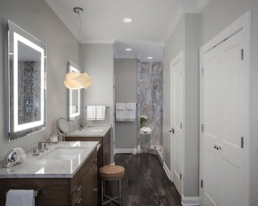 bathroom painted in Repose Grey from Sherwin Williams