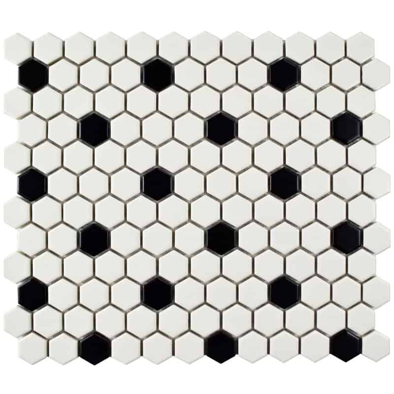 retro black and white hexagon tiles for vintage look
