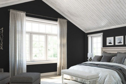 Master bedroom with Sherwin Williams Tricorn Black - Iconic paint colors