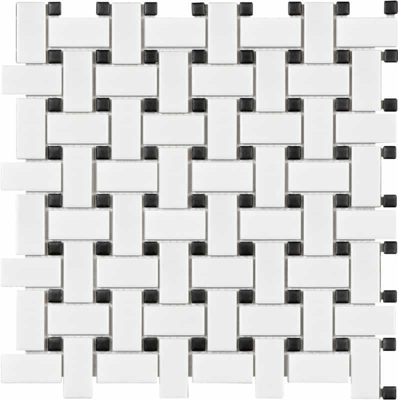 black and white basket weave vintage tile - geometric and Victorian tile