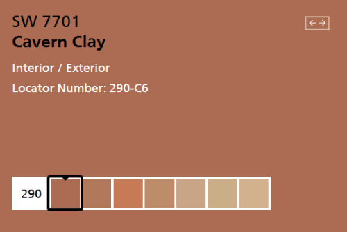 Cavern Clay SW 7701 from Sherwin Williams - iconic paint color