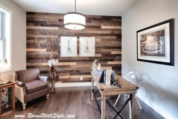Accent wall with dark shiplap