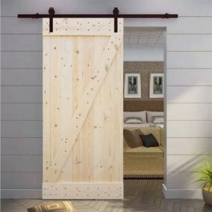 sliding barn house door and shiplap