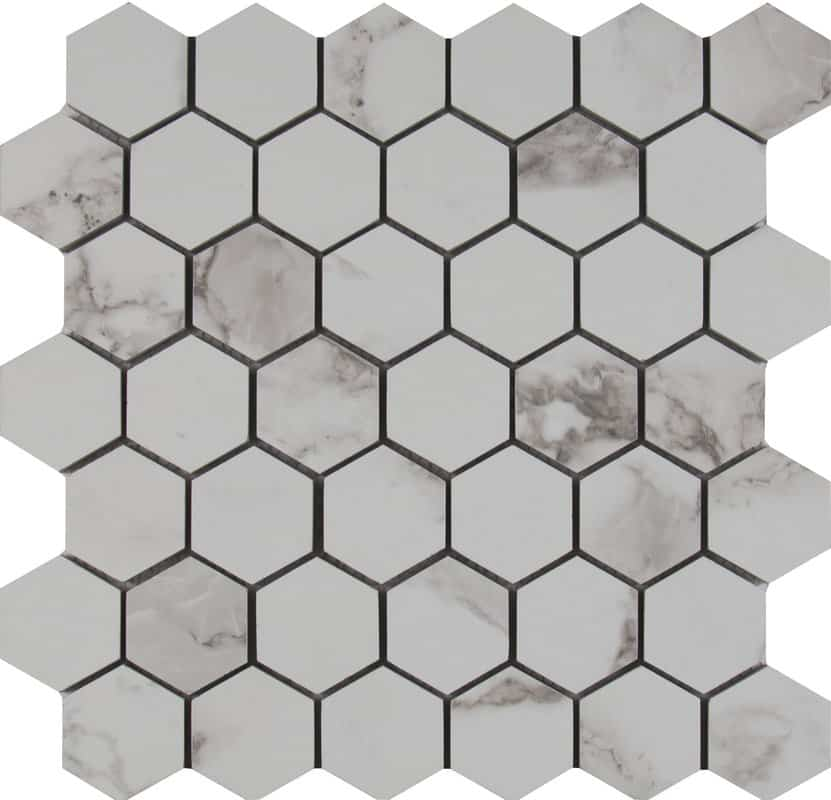 white porcelain hexagons for vintage style bathrooms