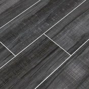 dark gray wood looking tile planks