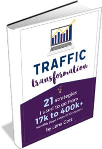 Traffic Transformation by Lena Gott - going from 17K to 400K+ page views per month